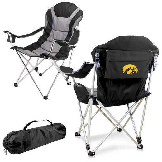 803-00-175-224-0: Iowa Hawkeyes - Reclining Camp Chair (Black)