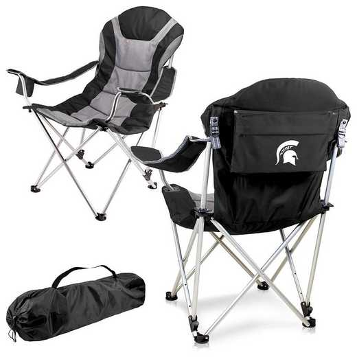 803-00-175-354-0: Michigan State Spartans - Reclining Camp Chair (Black)