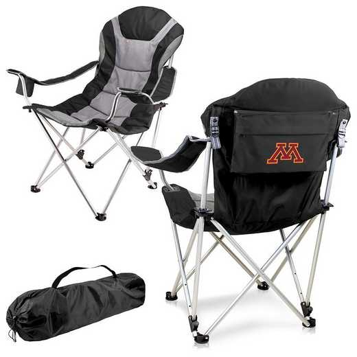 803-00-175-364-0: Minnesota Golden Gophers - Reclining Camp Chair (Black)