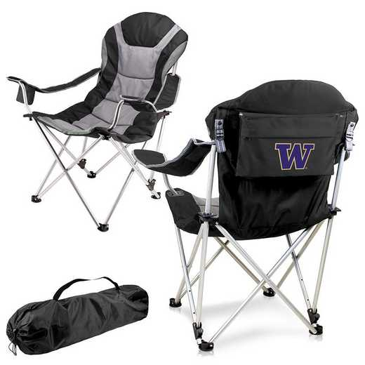 803-00-175-624-0: Washington Huskies - Reclining Camp Chair (Black)