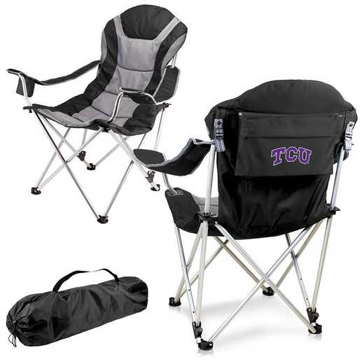 803-00-175-844-0: TCU Horned Frogs - Reclining Camp Chair (Black)