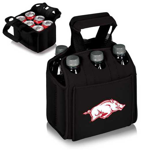 608-00-179-034-0: Arkansas Razorbacks - Six Pack Beverage Carrier (Black)