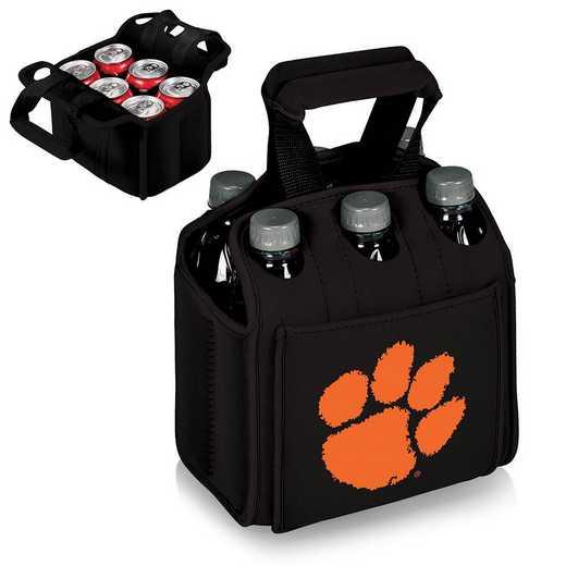 608-00-179-104-0: Clemson Tigers - Six Pack Beverage Carrier (Black)
