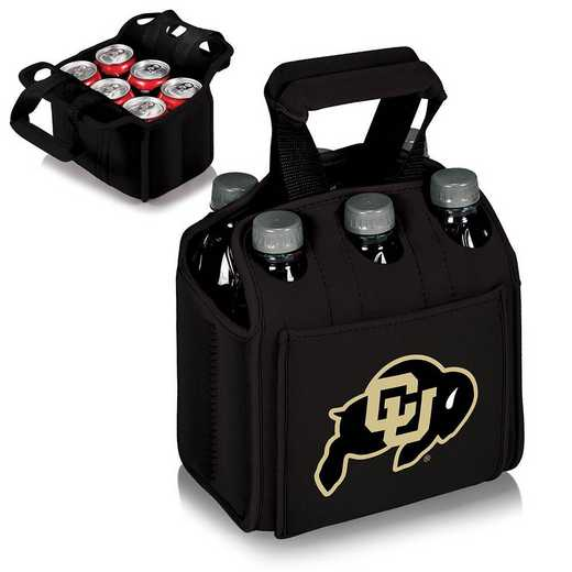 608-00-179-124-0: Colorado Buffaloes - Six Pack Beverage Carrier (Black)