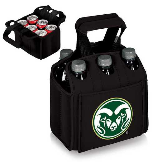 608-00-179-134-0: Colorado State Rams - Six Pack Beverage Carrier (Black)