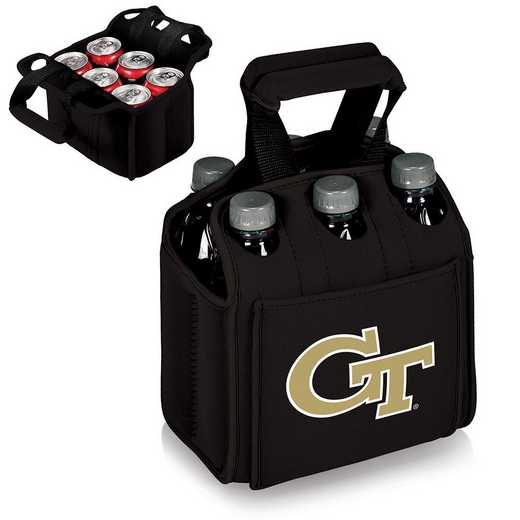 608-00-179-194-0: Georgia Tech Yellow Jackets Six Pack Beverage Carrier(Black)