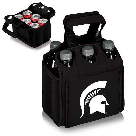 608-00-179-354-0: Michigan State Spartans - Six Pack Beverage Carrier (Black)