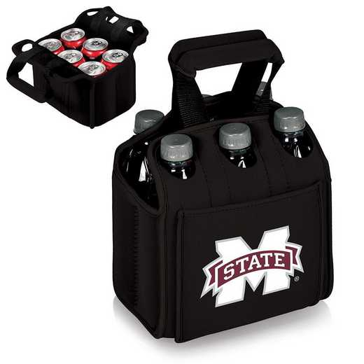 608-00-179-384-0: Mississippi State Bulldogs Six Pack Beverage Carrier (Black)