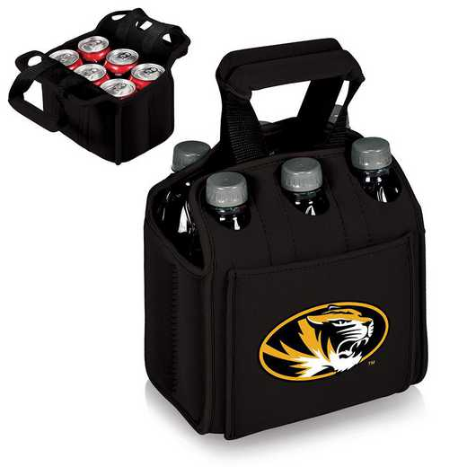 608-00-179-394-0: Mizzou Tigers - Six Pack Beverage Carrier (Black)