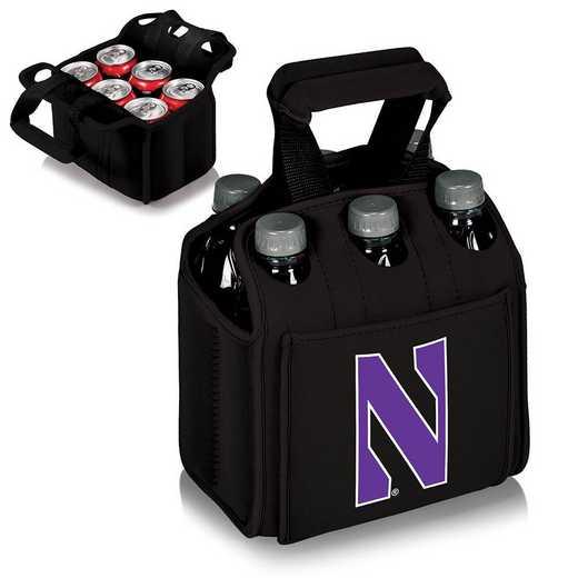 608-00-179-434-0: Northwestern Wildcats - Six Pack Beverage Carrier (Black)