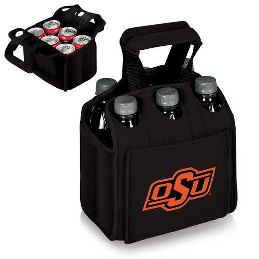 608-00-179-464-0: Oklahoma State Cowboys - Six Pack Beverage Carrier (Black)