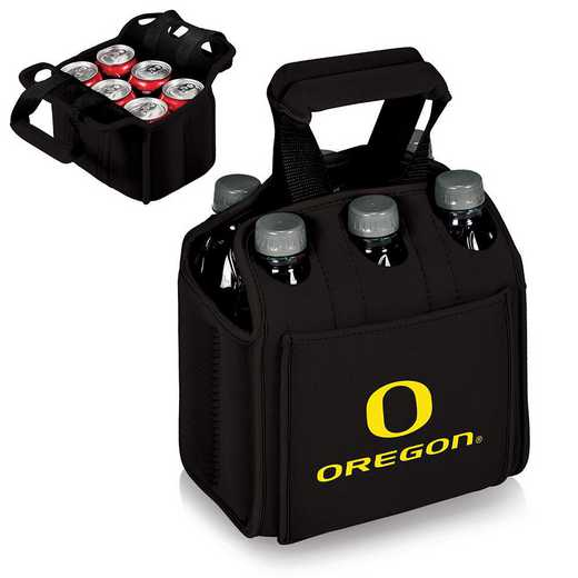 608-00-179-474-0: Oregon Ducks - Six Pack Beverage Carrier (Black)