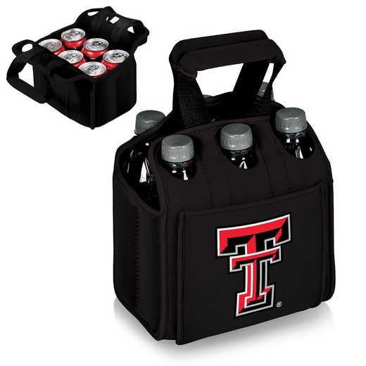 608-00-179-574-0: Texas Tech Red Raiders - Six Pack Beverage Carrier (Black)