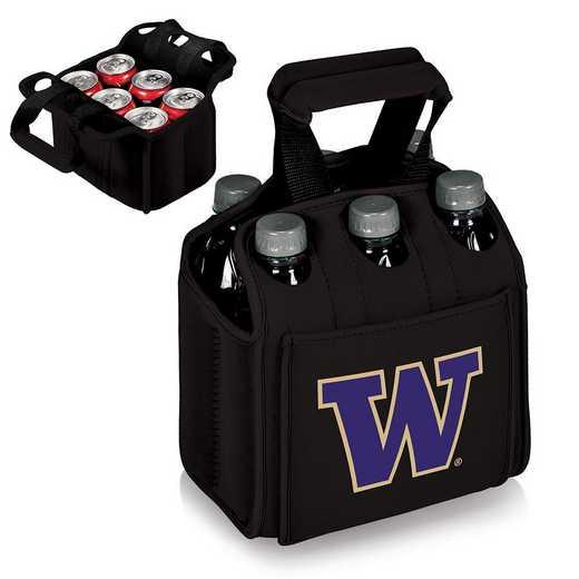 608-00-179-624-0: Washington Huskies - Six Pack Beverage Carrier (Black)