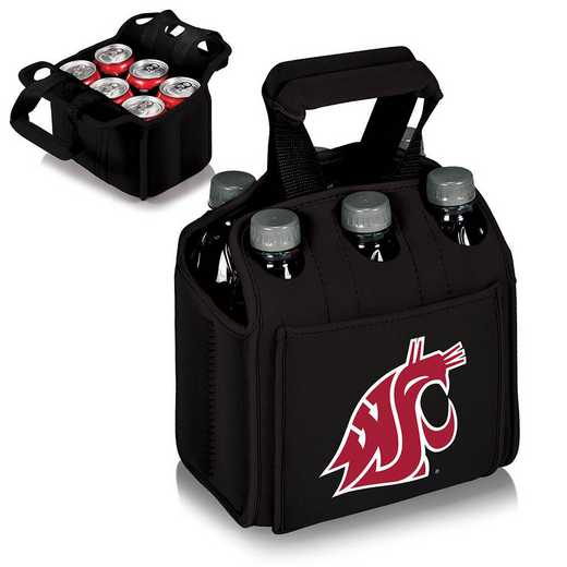 608-00-179-634-0: Washington State Cougars - Six Pack Beverage Carrier (Black)