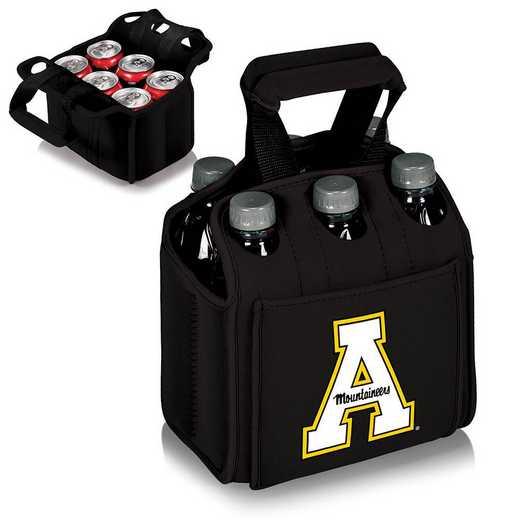 608-00-179-794-0: App State Mountaineers - Six Pack Beverage Carrier (Black)