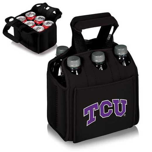 608-00-179-844-0: TCU Horned Frogs - Six Pack Beverage Carrier (Black)