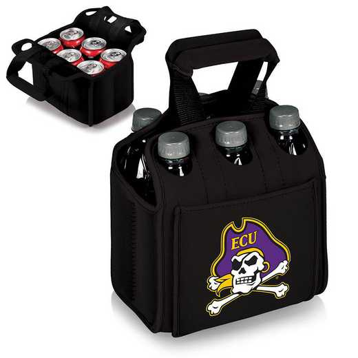 608-00-179-874-0: East Carolina Pirates - Six Pack Beverage Carrier (Black)
