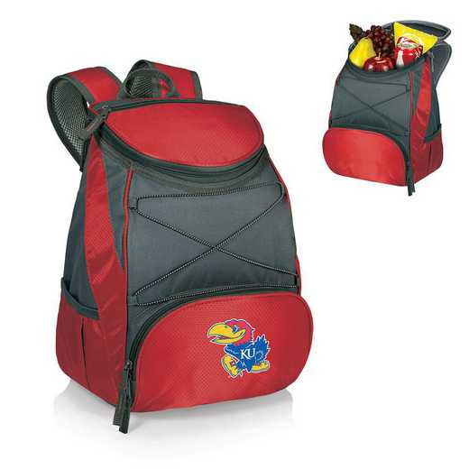 633-00-100-244-0: Kansas Jayhawks - PTX Backpack Cooler (Red)