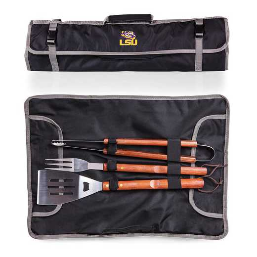 749-03-175-294-0: LSU Tigers - 3-Piece BBQ Tote and Tools Set