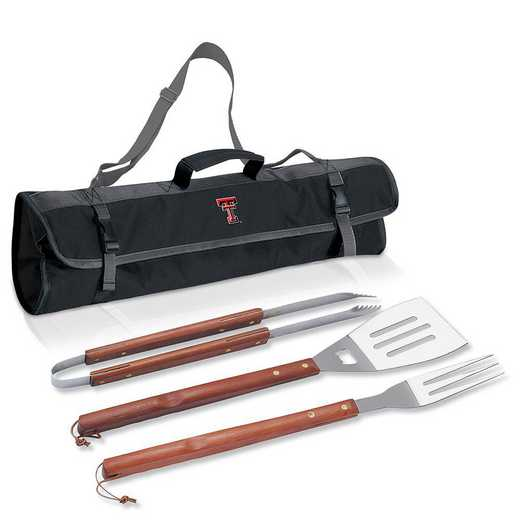749-03-175-574-0: Texas Tech Red Raiders - 3-Piece BBQ Tote and Tools Set