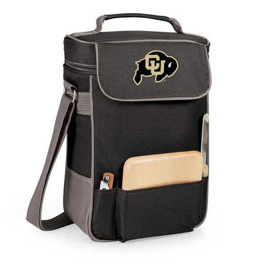 623-04-175-124-0: Colorado Buffaloes - Duet Wine / Cheese Tote (Black)