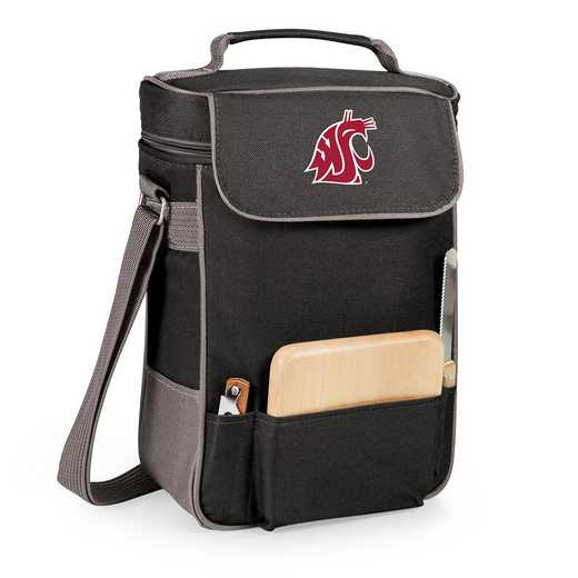 623-04-175-634-0: Washington State Cougars - Duet Wine / Cheese Tote (Black)