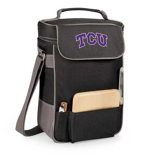 623-04-175-844-0: TCU Horned Frogs - Duet Wine / Cheese Tote (Black)