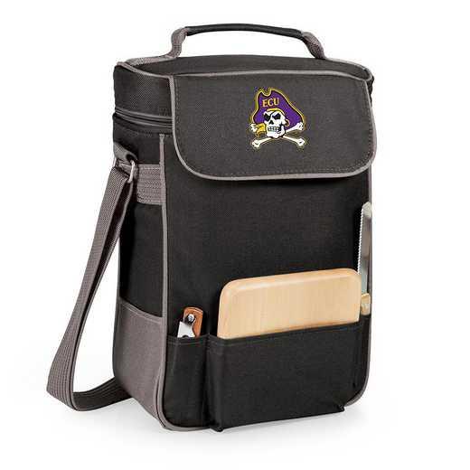 623-04-175-874-0: East Carolina Pirates - Duet Wine / Cheese Tote (Black)