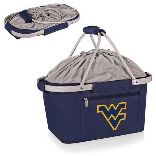 645-00-138-834-0: West Virginia Mountaineers -Metro Basket Cllpsbl Tote (Navy)