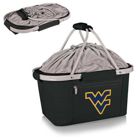 645-00-175-834-0: West Virginia Mountaineers Metro Basket Cllpsbl Tote (Black)