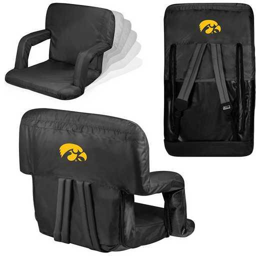 618-00-179-224-0: Iowa Hawkeyes - Ventura  Stadium Seat (Black)