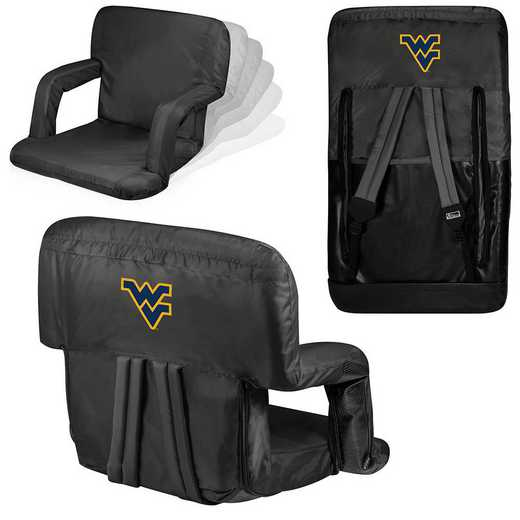 618-00-179-834-0: West Virginia Mountaineers - Ventura  Stadium Seat (Black)
