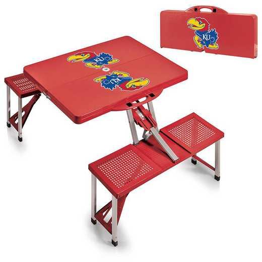 811-00-100-244-0: Kansas Jayhawks - Portable Picnic Table (Red)