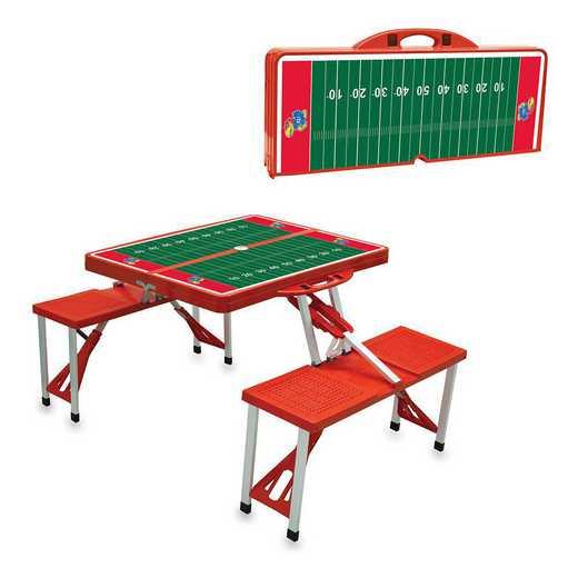 811-00-100-245-0: Kansas Jayhawks - Portable Picnic Table w/SFD (Red)