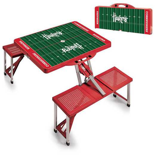 811-00-100-405-0: Nebraska Cornhuskers - Portable Picnic Table w/SFD (Red)