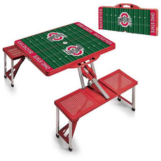 811-00-100-445-0: Ohio State Buckeyes - Portable Picnic Table w/SFD (Red)