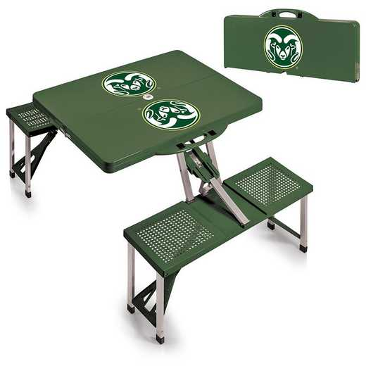 811-00-121-134-0: Colorado State Rams - Portable Picnic Table (HNTR GRN)