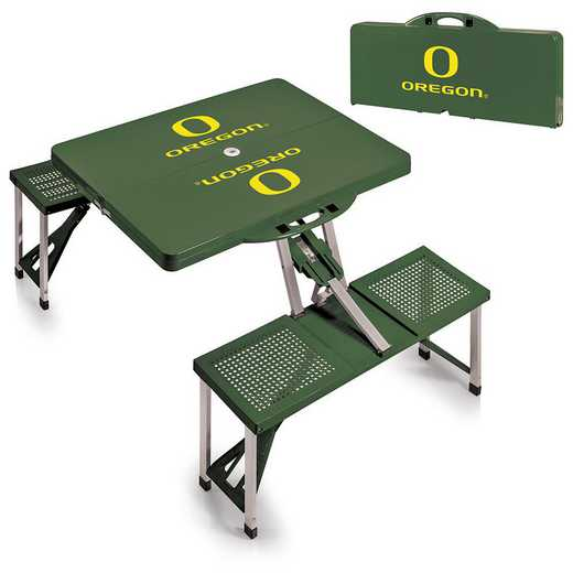 811-00-121-474-0: Oregon Ducks - Portable Picnic Table (HNTR GRN)
