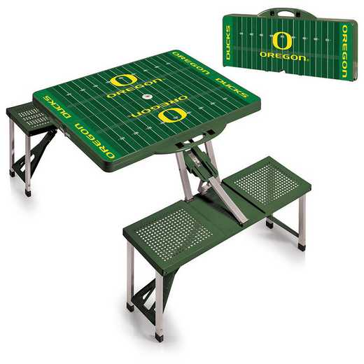 811-00-121-475-0: Oregon Ducks - Portable Picnic Table w/SFD (HNTR GRN)