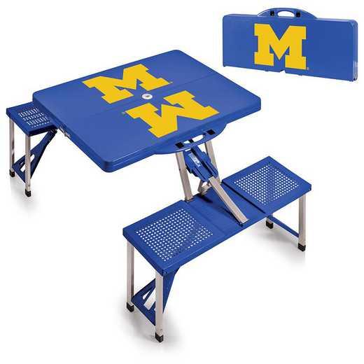811-00-139-344-0: Michigan Wolverines - Portable Picnic Table (Blue)