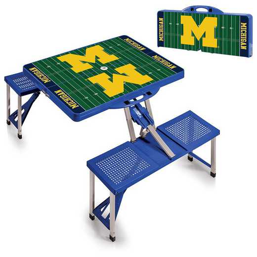 811-00-139-345-0: Michigan Wolverines - Portable Picnic Table w/SFD (Blue)