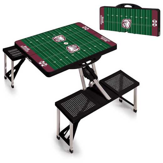 811-00-175-385-0: Mississippi State Bulldogs Portable Picnic Table w/SFD (Blk)