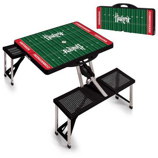 811-00-175-405-0: Nebraska Cornhuskers - Portable Picnic Table w/SFD (Black)