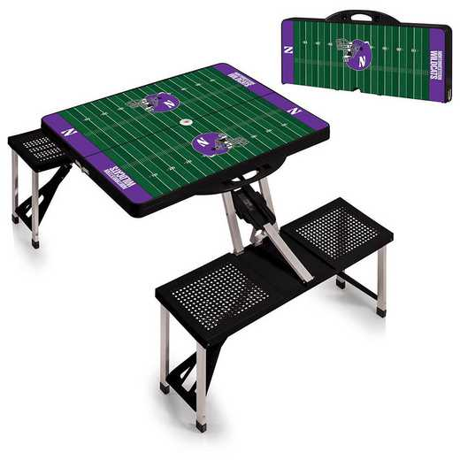 811-00-175-435-0: Northwestern Wildcats - Portable Picnic Table w/SFD (Black)