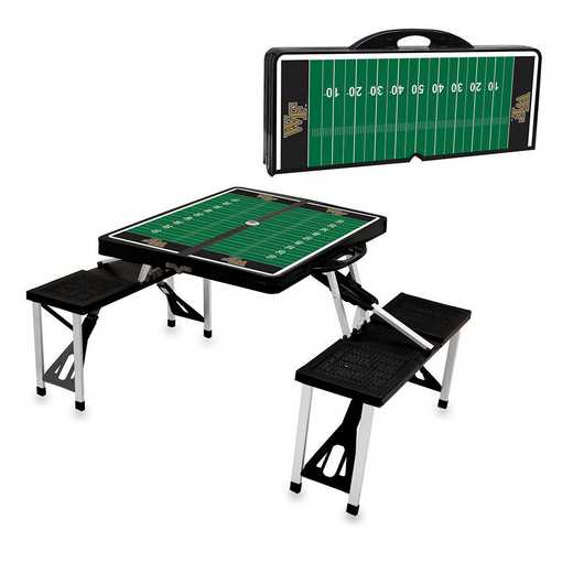 811-00-175-615-0: Wake Forest Demon Deacons Portable Picnic Table w/SFD (Blk)