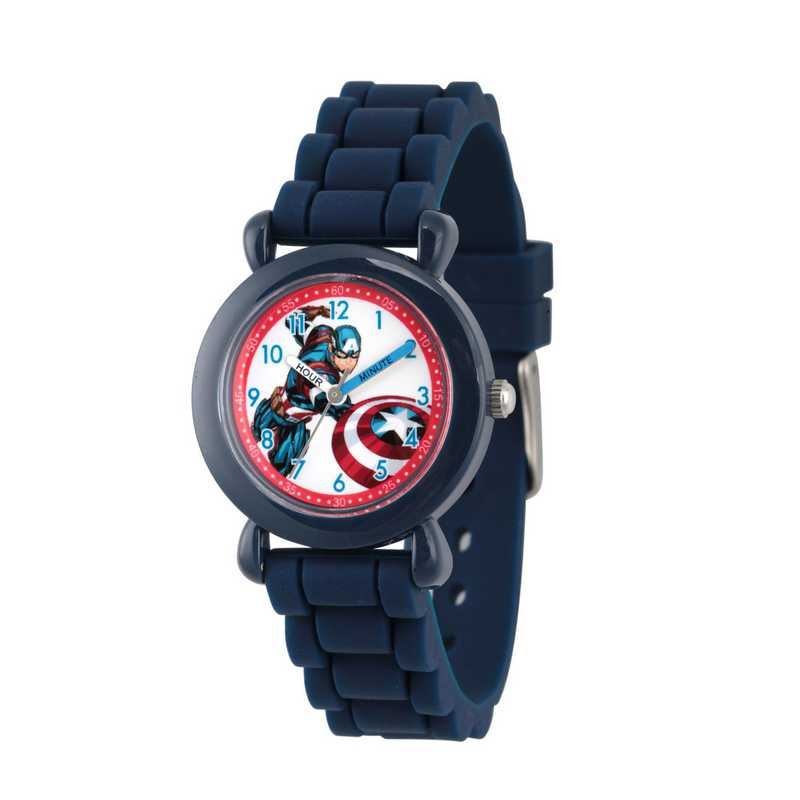 WMA000028: Plastic Marvel Boys CptnAm InBattle Watch Blu Sil Strap