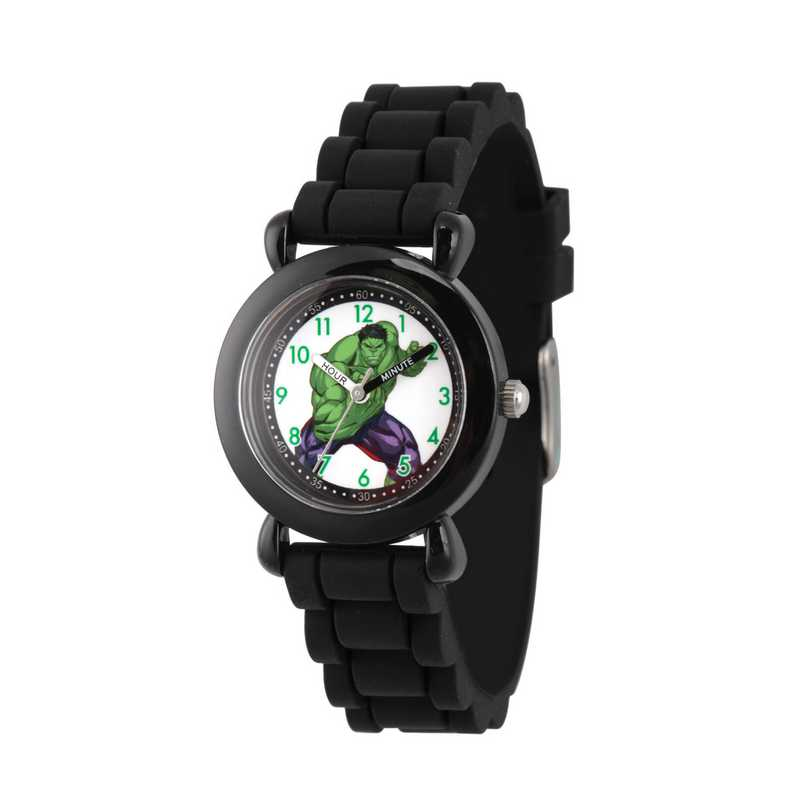 WMA000029: Plastic Marvel Boys Hulk Angry Watch Blk Sil Strap