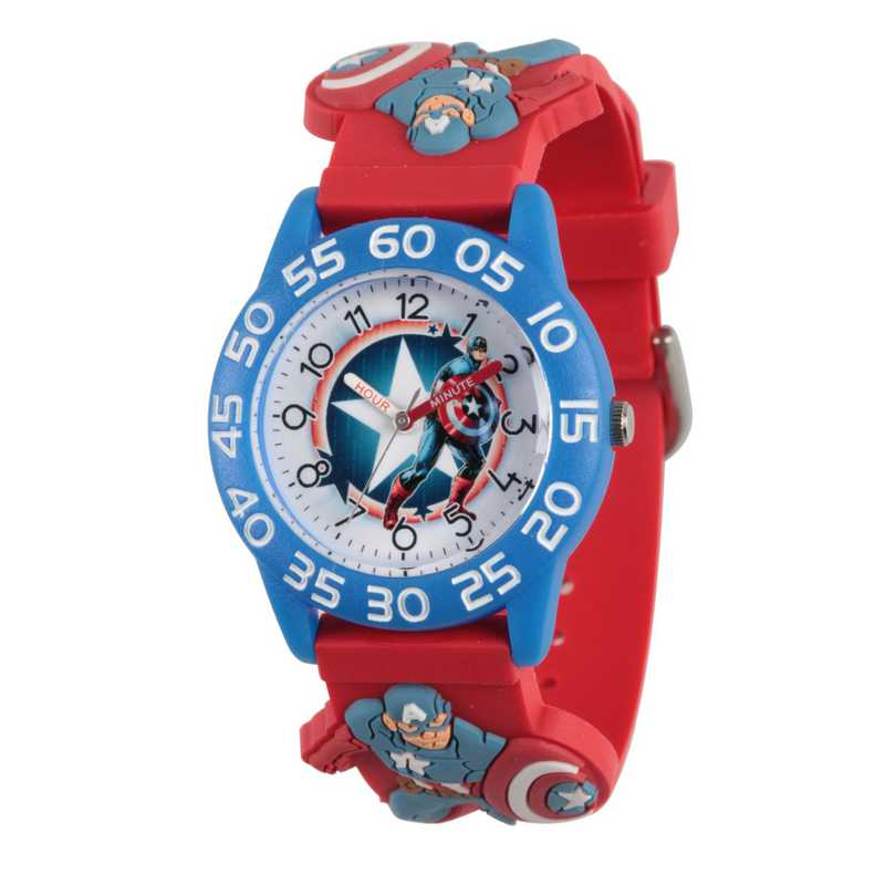 WMA000039: Plastic Marvel Boys CptAm Star Watch Red 3D Strap