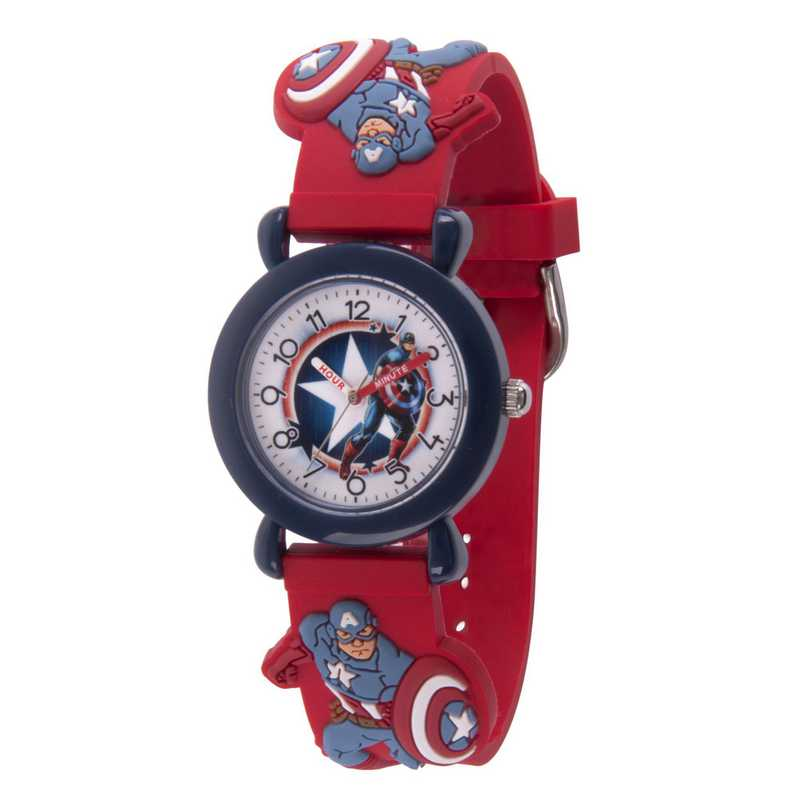WMA000157: Plastic Marvel Boys CptAmr Star Shield Watch Red 3D Strap